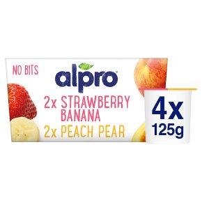 Alpro Soya no bits 2 x peach-pear 2x strawberry-banana