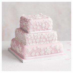 Blossom 3 Tier Pastel Pink Wedding Cake , Lemon sponge (all tiers)