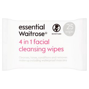 essential Waitrose 4 in 1 facial cleansing wipes