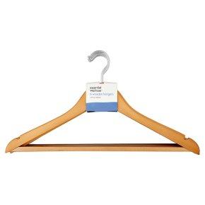 essential Waitrose 6 Wooden Hangers