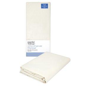 essential Waitrose single cream fitted sheet