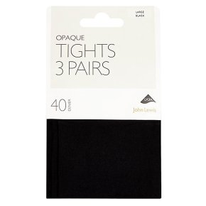 John Lewis 40 denier black opaque tights, pack of 3 (large)