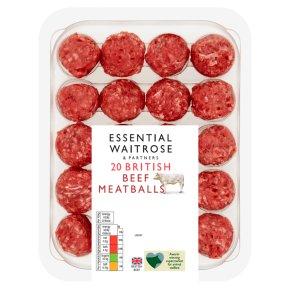 essential Waitrose British Beef 20 Meatballs