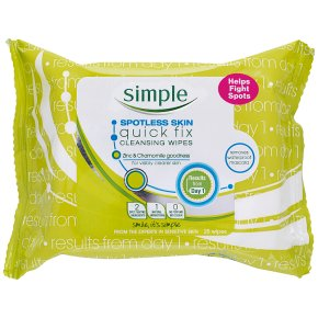 Simple Spotless Skin quick fix 25 pack cleansing wipes