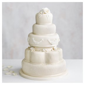 Grace Five Tier Ivory Wedding Cake  (Fruit & Chocolate Sponge)