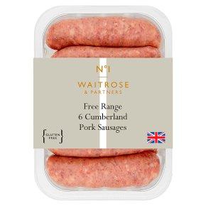 Waitrose 1 British free range Cumberland pork sausages 6s
