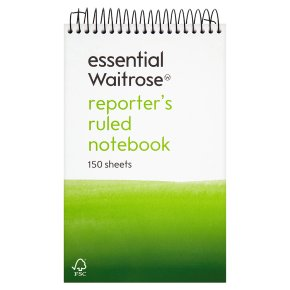 essential Waitrose reporters lined notebook, pack of 150 sheets