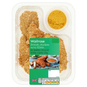 Waitrose British Chicken Mini Fillets Katsu Crumb with Dip