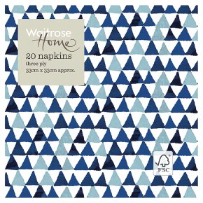 Waitrose Home Blue Triangle Napkin 33cm x 33cm