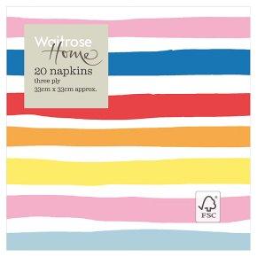 Waitrose Home Bright Stripe Napkin 33cm x 33cm