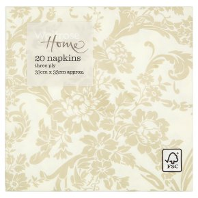 Waitrose Home 33cm taupe damask napkins, pack of 20