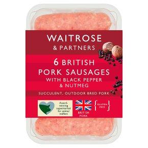 Waitrose 6 British gourmet pork sausages with black pepper & nutmeg