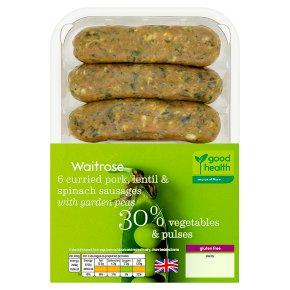 Waitrose 6 Curried Pork, Lentil & Spinach Sausages