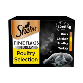 SHEBA Fine Flakes Cat Pouches Poultry Collection in Jelly 12 x 85g
