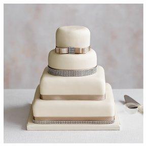Diamante 4 Tier Ivory Wedding Cake , Chocolate (all tiers)