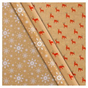 Waitrose Kraft Wrap Snowflake or Reindeer 1 Roll