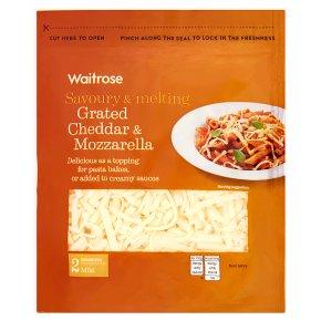 Waitrose grated mild Cheddar & Mozzarella cheese, strength 2