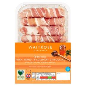 Waitrose 8 British honey & rosemary pork chipolatas in bacon