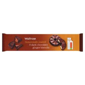 Waitrose 8 Dark Chocolate Ginger Biscuits