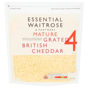 essential Waitrose English mature grated Cheddar, strength 4