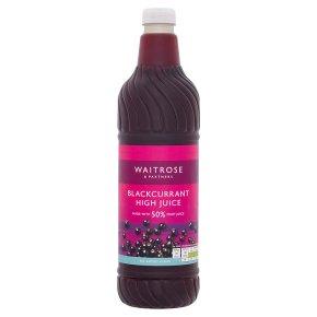 Waitrose no added sugar high juice 50% fruit blackcurrant squash