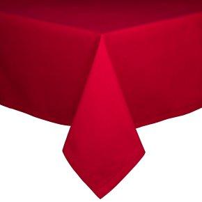 Waitrose 160x250cm red hemstitch tablecloth