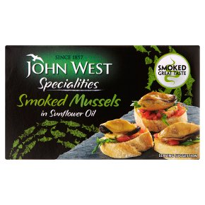 John West smoked mussels in sunflower oil