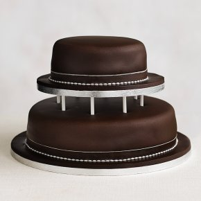Soft Iced 2 Tier Chocolate Wedding Cake with Dowling , Chocolate (all tiers)