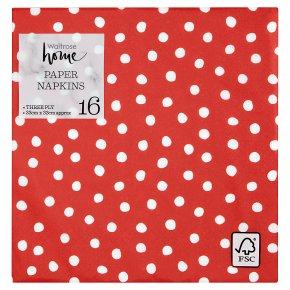 Waitrose Christmas Red/White Spot Napkins 33cm x 33cm