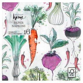 Waitrose Autumn Vegetables Napkins 33cm x 33cm