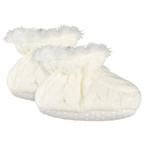 Waitrose Knitted Cream Booties 3-6M