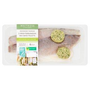 Waitrose 2 Sea Bass Fillets Rocket Pesto Butter