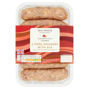 Waitrose 6 Pork Sausages with Ale