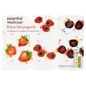 essential Waitrose 6 strawberry / raspberry / cherry low fat yogurts