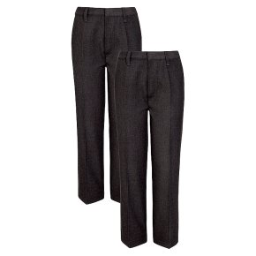 Boys 2 pack basic trousers, grey, 11 years