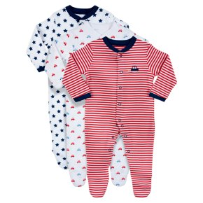 Waitrose 3PK Stars&Cars S/Suits 9-12M