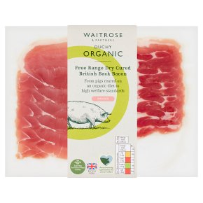 Waitrose Duchy Organic British free range dry cured cherrywood smoked back bacon, 6 rashers