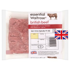 essential Waitrose British beef mince, 5% fat