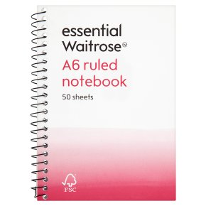essential Waitrose A6 recycled ruled notebook, pack of 50 sheets