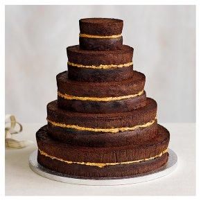 Naked Chocolate 5 tier Wedding Cake, Chocolate Sponge (5 tiers)
