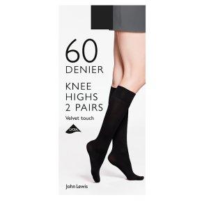 John Lewis Knee Highs 60D Velvet Touch Blck