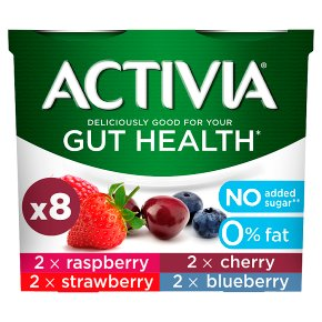 Activia 0% Fat Raspberry, Cherry, Strawbery, Blueberry
