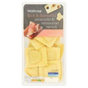 Waitrose prosciutto & emmental fresh pasta ravioli