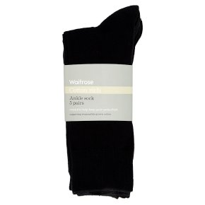 Waitrose Cotton Rich Black Ankle Socks