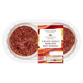 Waitrose 4 Black Garlic Beef Burgers