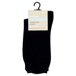 Waitrose Pure Cotton Navy Ankle Socks