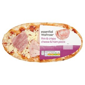 essential Waitrose ham & cheese thin & crispy pizza