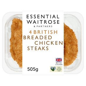 essential Waitrose 4 breaded chicken steaks