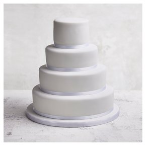 Classic Ribbon' 4 tier  White Wedding Cake, Chocolate (all tiers)