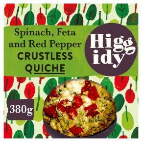 Higgidy crustless spinach, feta and red pepper quiche